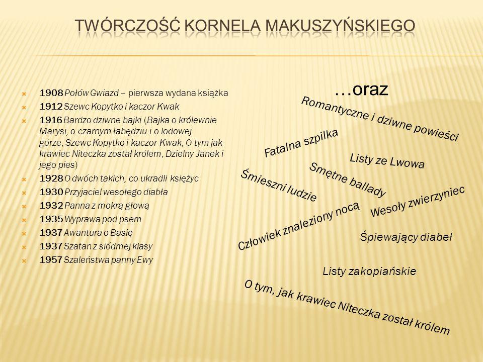  1908 Połów Gwiazd – pierwsza wydana książka  1912 Szewc Kopytko i kaczor Kwak  1916 Bardzo dziwne bajki (Bajka o królewnie Marysi, o czarnym łabęd