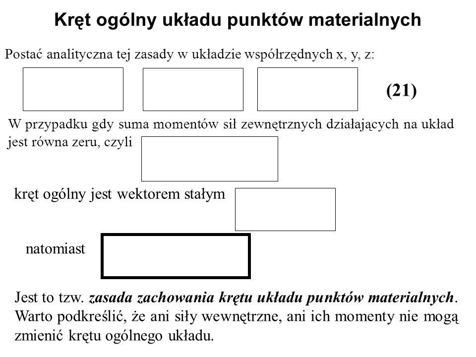 Postać analityczna tej zasady w układzie współrzędnych x, y, z: (21) Kręt ogólny układu punktów materialnych W przypadku gdy suma momentów sił zewnętr
