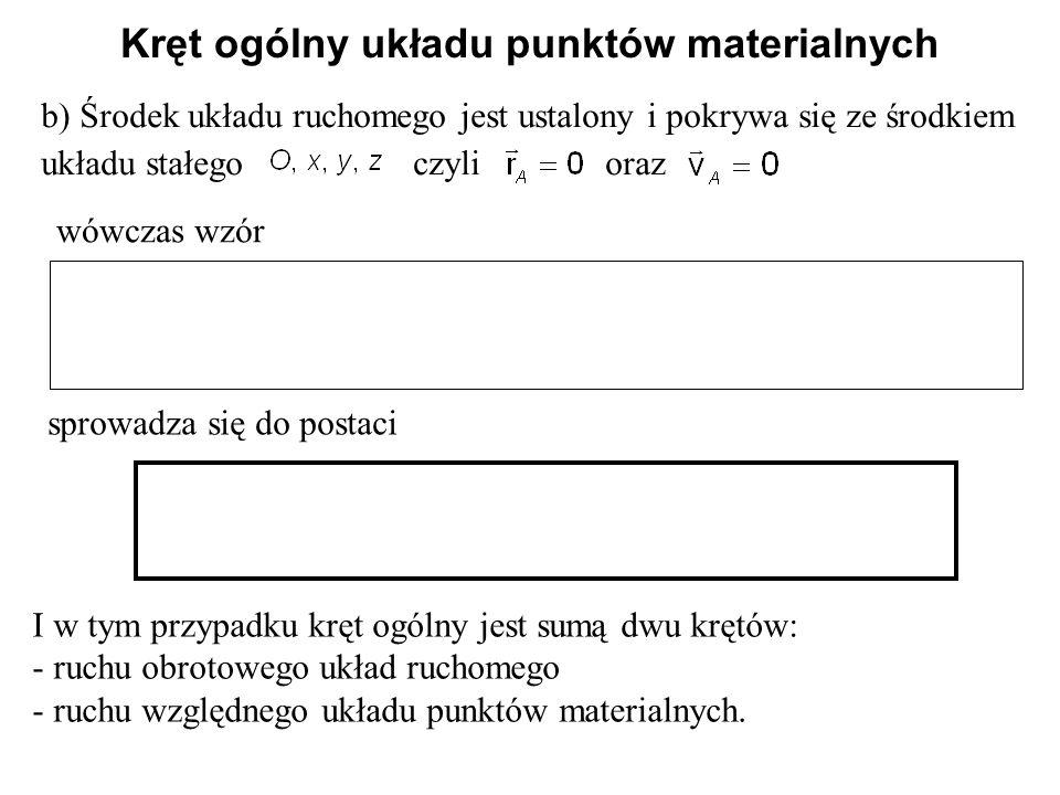 b) Środek układu ruchomego jest ustalony i pokrywa się ze środkiem układu stałego czyli oraz wówczas wzór sprowadza się do postaci I w tym przypadku k