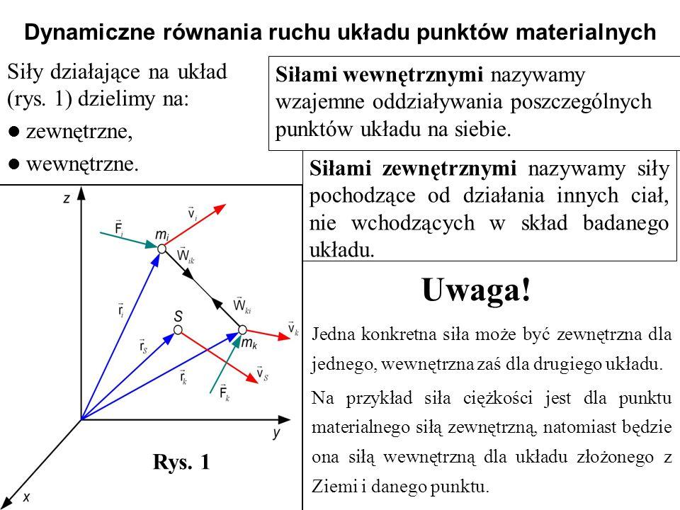 Siły działające na układ (rys. 1) dzielimy na: zewnętrzne, wewnętrzne. Dynamiczne równania ruchu układu punktów materialnych Rys. 1 Siłami wewnętrznym