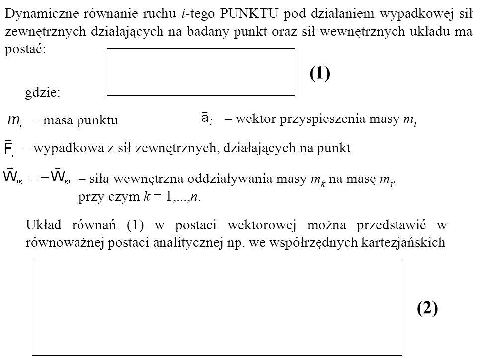 – wektor przyspieszenia masy m i – wypadkowa z sił zewnętrznych, działających na punkt – masa punktu Dynamiczne równanie ruchu i-tego PUNKTU pod dział