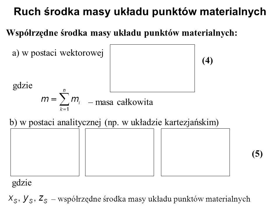 Współrzędne środka masy układu punktów materialnych: Ruch środka masy układu punktów materialnych a) w postaci wektorowej (4) gdzie – masa całkowita b