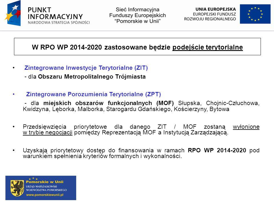 W RPO WP 2014-2020 zastosowane będzie podejście terytorialne Zintegrowane Inwestycje Terytorialne (ZIT) - dla Obszaru Metropolitalnego Trójmiasta Zint