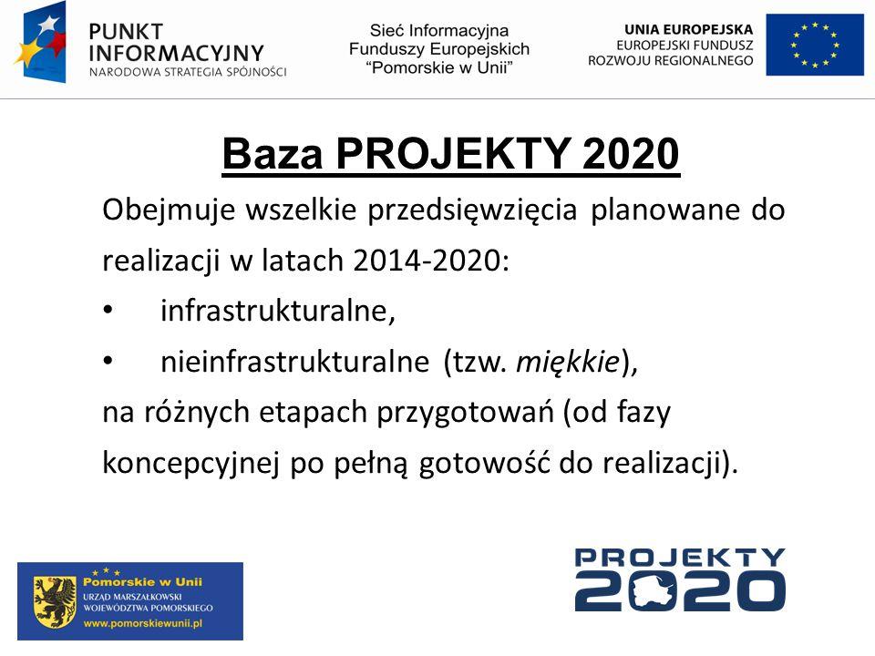 Baza PROJEKTY 2020 Obejmuje wszelkie przedsięwzięcia planowane do realizacji w latach 2014-2020: infrastrukturalne, nieinfrastrukturalne (tzw. miękkie