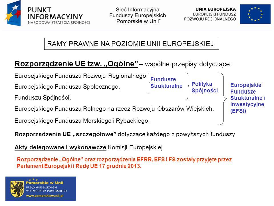 """Rozporządzenie UE tzw. """"Ogólne"""" – wspólne przepisy dotyczące: Europejskiego Funduszu Rozwoju Regionalnego, Europejskiego Funduszu Społecznego, Fundusz"""