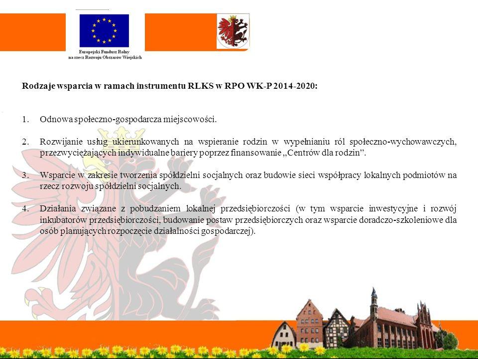 Rodzaje wsparcia w ramach instrumentu RLKS w RPO WK-P 2014-2020: 1.Odnowa społeczno-gospodarcza miejscowości.