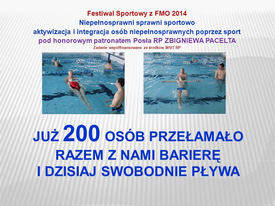 Festiwal Sportowy z FMO 2014 Niepełnosprawni sprawni sportowo aktywizacja i integracja osób niepełnosprawnych poprzez sport pod honorowym patronatem P