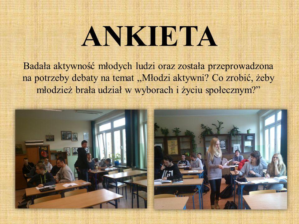"""ANKIETA Badała aktywność młodych ludzi oraz została przeprowadzona na potrzeby debaty na temat """"Młodzi aktywni? Co zrobić, żeby młodzież brała udział"""