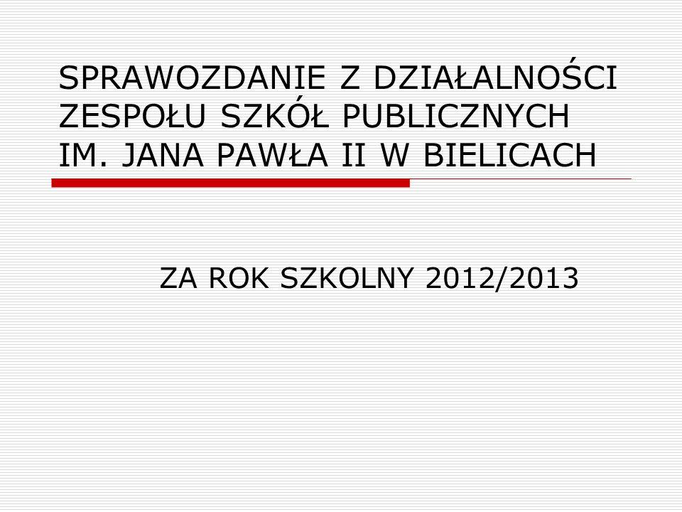 SPRAWOZDANIE Z DZIAŁALNOŚCI ZESPOŁU SZKÓŁ PUBLICZNYCH IM. JANA PAWŁA II W BIELICACH ZA ROK SZKOLNY 2012/2013