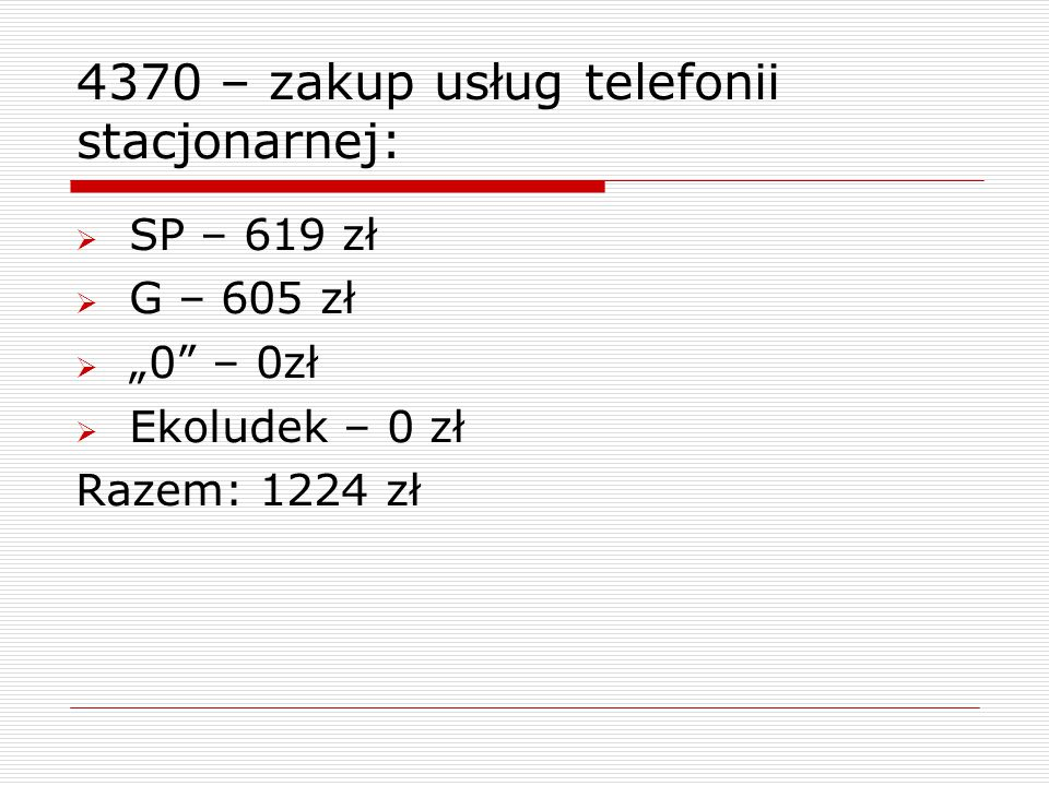 """4370 – zakup usług telefonii stacjonarnej:  SP – 619 zł  G – 605 zł  """"0"""" – 0zł  Ekoludek – 0 zł Razem: 1224 zł"""