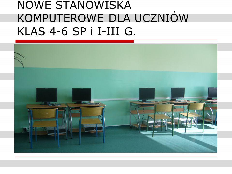 NOWE STANOWISKA KOMPUTEROWE DLA UCZNIÓW KLAS 4-6 SP i I-III G.