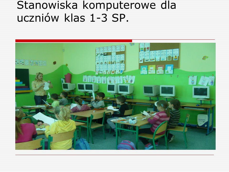 Stanowiska komputerowe dla uczniów klas 1-3 SP.