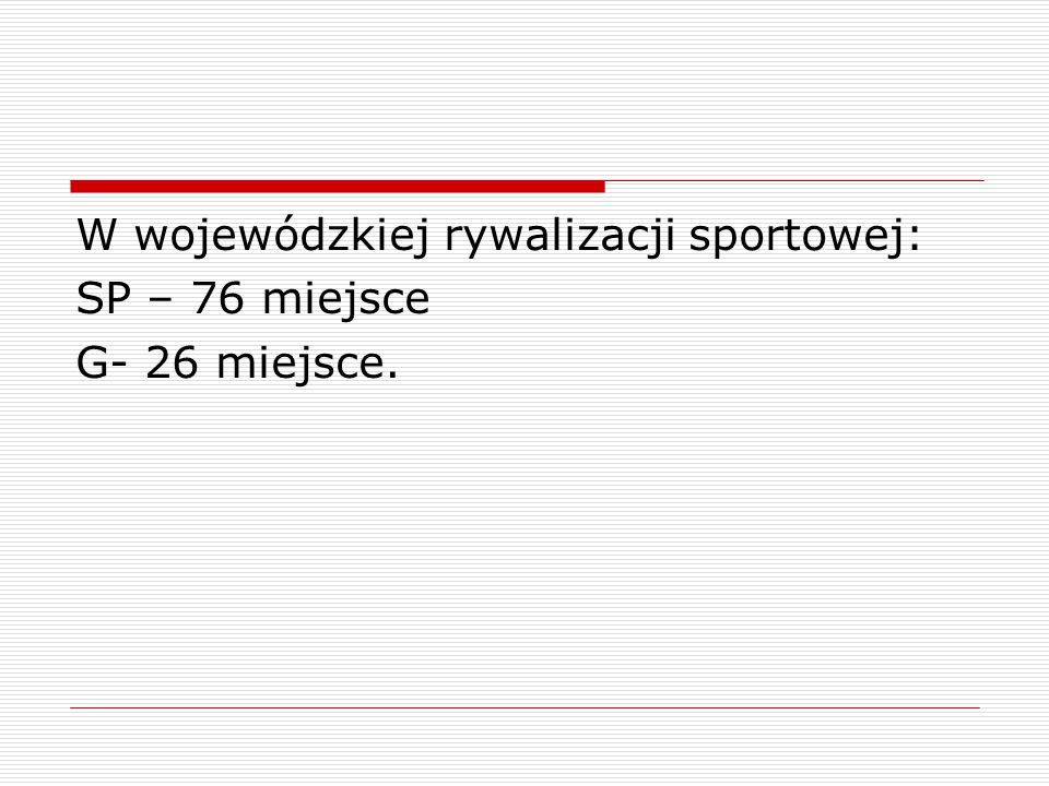 W wojewódzkiej rywalizacji sportowej: SP – 76 miejsce G- 26 miejsce.
