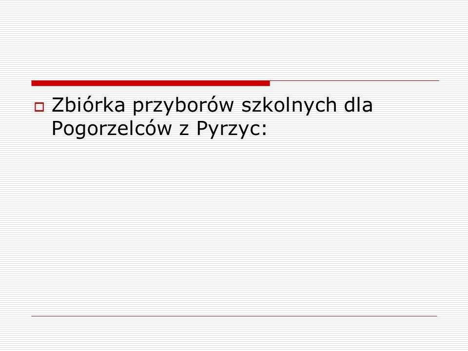  Zbiórka przyborów szkolnych dla Pogorzelców z Pyrzyc: