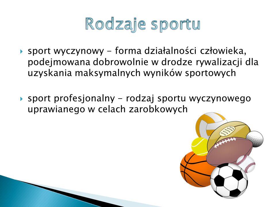  sport wyczynowy - forma działalności człowieka, podejmowana dobrowolnie w drodze rywalizacji dla uzyskania maksymalnych wyników sportowych  sport p