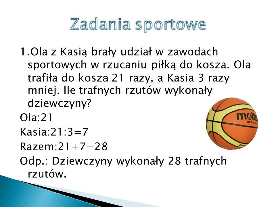 1.Ola z Kasią brały udział w zawodach sportowych w rzucaniu piłką do kosza. Ola trafiła do kosz a 21 razy, a Kasia 3 razy mniej. Ile trafnych rzutów w