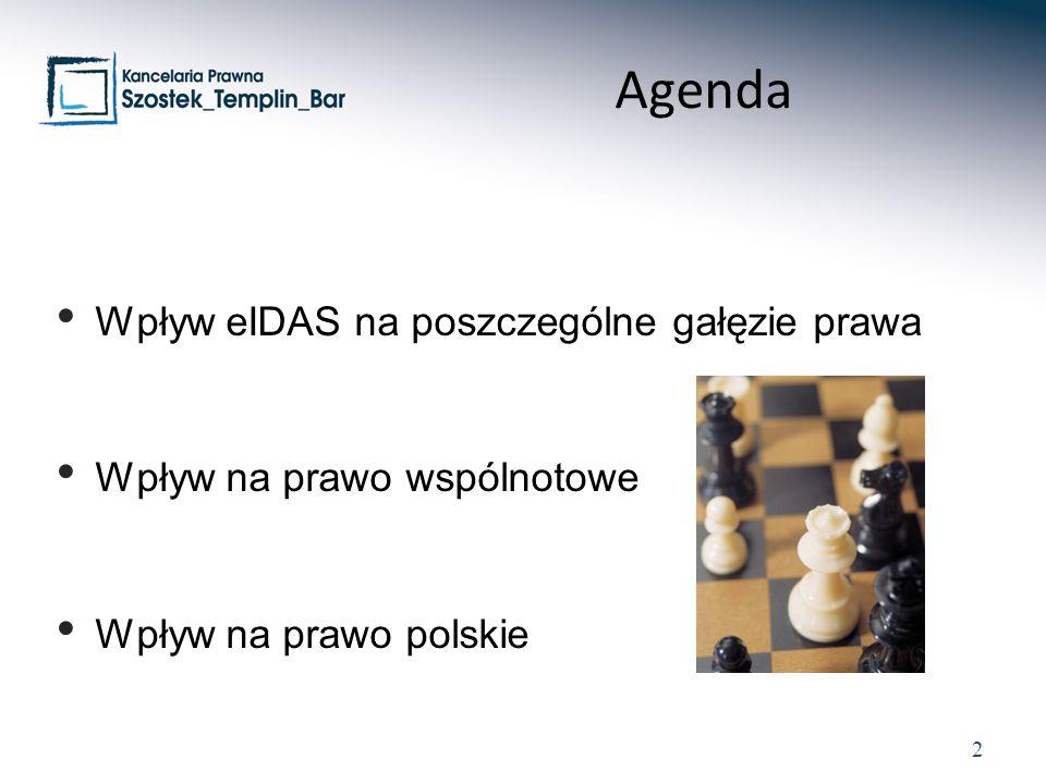 2 Wpływ eIDAS na poszczególne gałęzie prawa Wpływ na prawo wspólnotowe Wpływ na prawo polskie Agenda