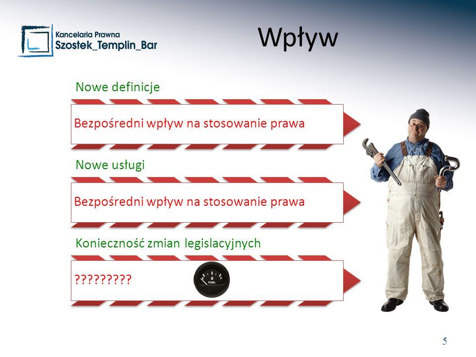 5 Nowe definicje Bezpośredni wpływ na stosowanie prawa Nowe usługi Bezpośredni wpływ na stosowanie prawa Konieczność zmian legislacyjnych ????????.