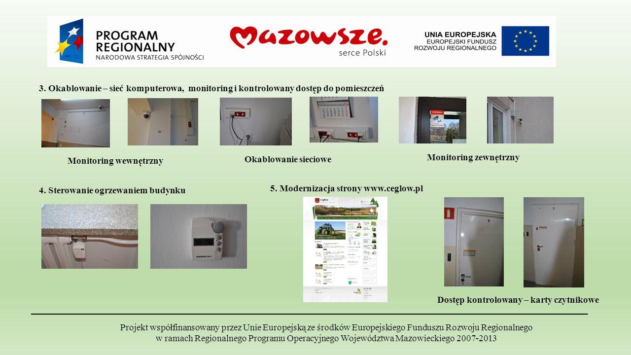 3. Okablowanie – sieć komputerowa, monitoring i kontrolowany dostęp do pomieszczeń Monitoring wewnętrzny Monitoring zewnętrzny Okablowanie sieciowe Pr