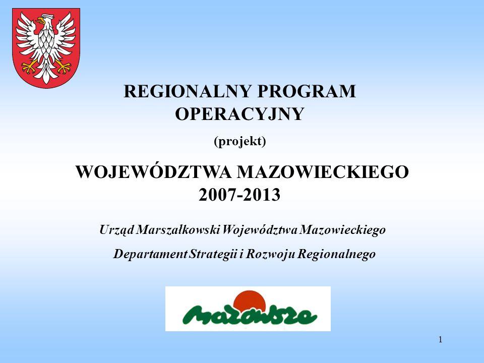 1 REGIONALNY PROGRAM OPERACYJNY (projekt) WOJEWÓDZTWA MAZOWIECKIEGO 2007-2013 Urząd Marszałkowski Województwa Mazowieckiego Departament Strategii i Ro