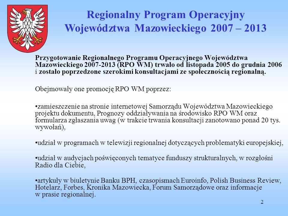 2 Przygotowanie Regionalnego Programu Operacyjnego Województwa Mazowieckiego 2007-2013 (RPO WM) trwało od listopada 2005 do grudnia 2006 i zostało pop