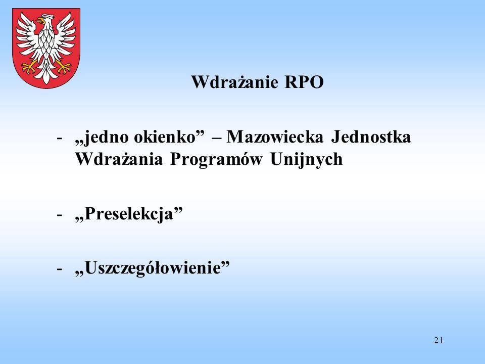 """21 Wdrażanie RPO -""""jedno okienko"""" – Mazowiecka Jednostka Wdrażania Programów Unijnych -""""Preselekcja"""" -""""Uszczegółowienie"""""""