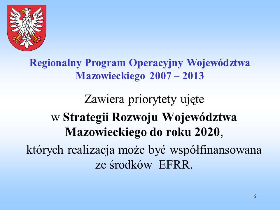 6 Zawiera priorytety ujęte w Strategii Rozwoju Województwa Mazowieckiego do roku 2020, których realizacja może być współfinansowana ze środków EFRR. R