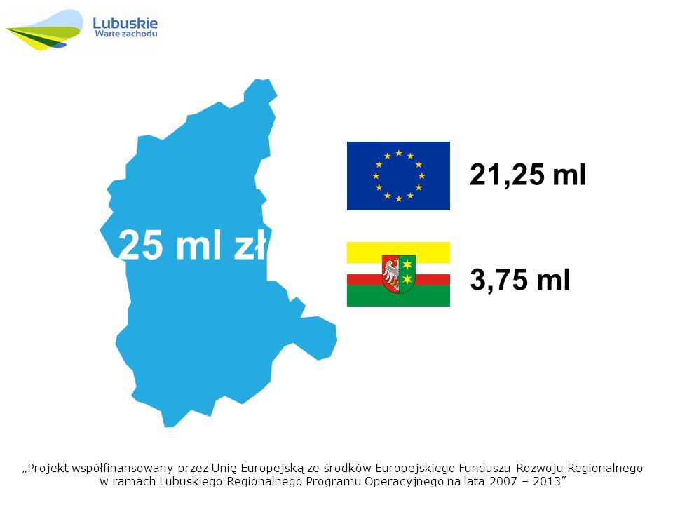 """3,75 ml 21,25 ml """"Projekt współfinansowany przez Unię Europejską ze środków Europejskiego Funduszu Rozwoju Regionalnego w ramach Lubuskiego Regionalnego Programu Operacyjnego na lata 2007 – 2013 25 ml zł"""