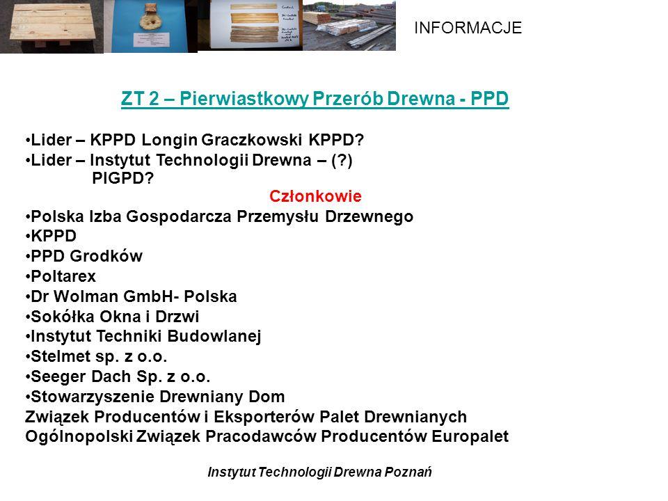 Instytut Technologii Drewna Poznań INFORMACJE ZT 2 – Pierwiastkowy Przerób Drewna - PPD Lider – KPPD Longin Graczkowski KPPD.