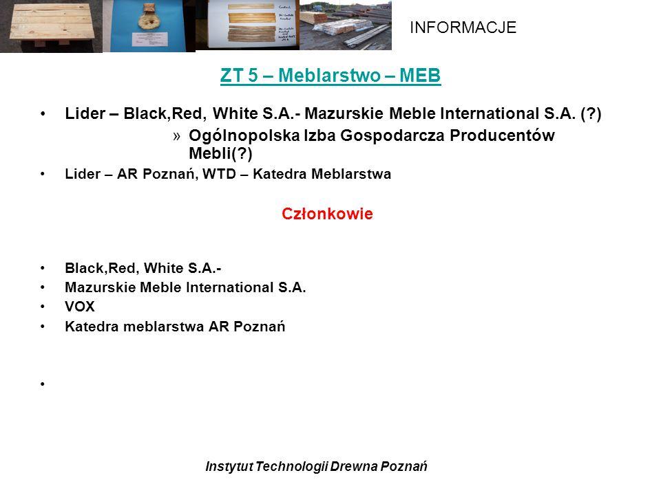 Instytut Technologii Drewna Poznań INFORMACJE ZT 5 – Meblarstwo – MEB Lider – Black,Red, White S.A.- Mazurskie Meble International S.A.