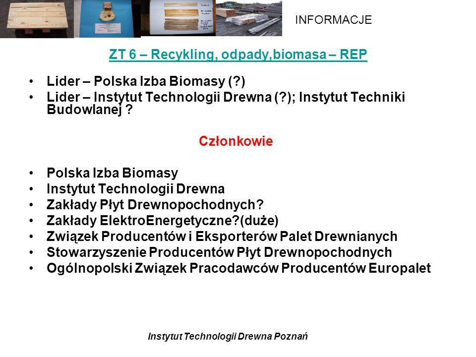 Instytut Technologii Drewna Poznań INFORMACJE ZT 6 – Recykling, odpady,biomasa – REP Lider – Polska Izba Biomasy (?) Lider – Instytut Technologii Drewna (?); Instytut Techniki Budowlanej .