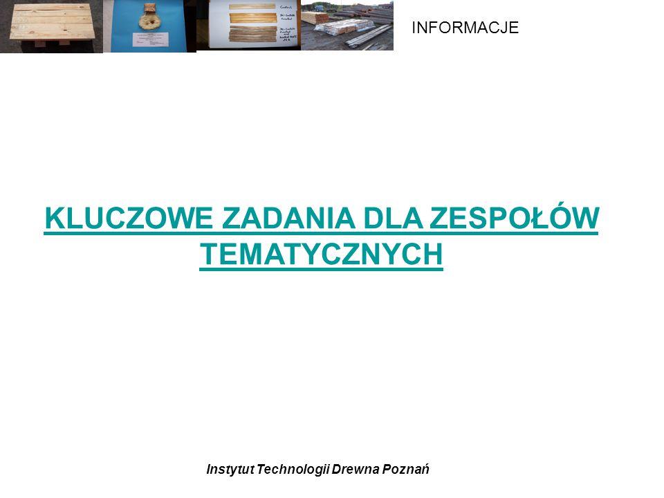 Instytut Technologii Drewna Poznań INFORMACJE KLUCZOWE ZADANIA DLA ZESPOŁÓW TEMATYCZNYCH