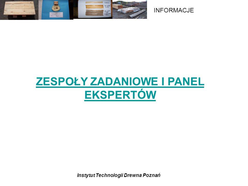 Instytut Technologii Drewna Poznań INFORMACJE ZESPOŁY ZADANIOWE I PANEL EKSPERTÓW