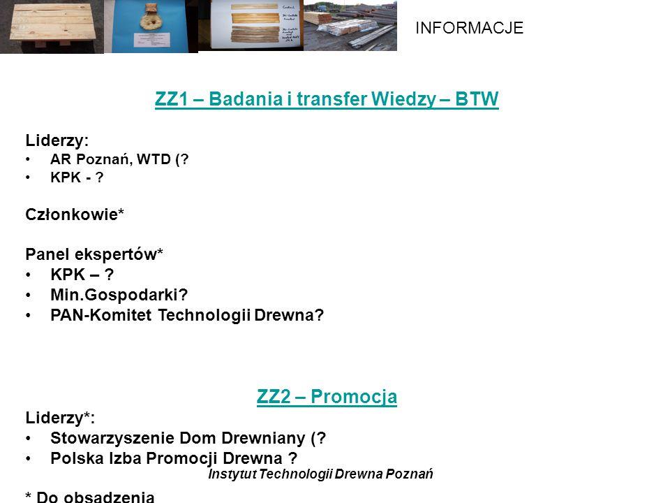 Instytut Technologii Drewna Poznań INFORMACJE ZZ1 – Badania i transfer Wiedzy – BTW Liderzy: AR Poznań, WTD (.