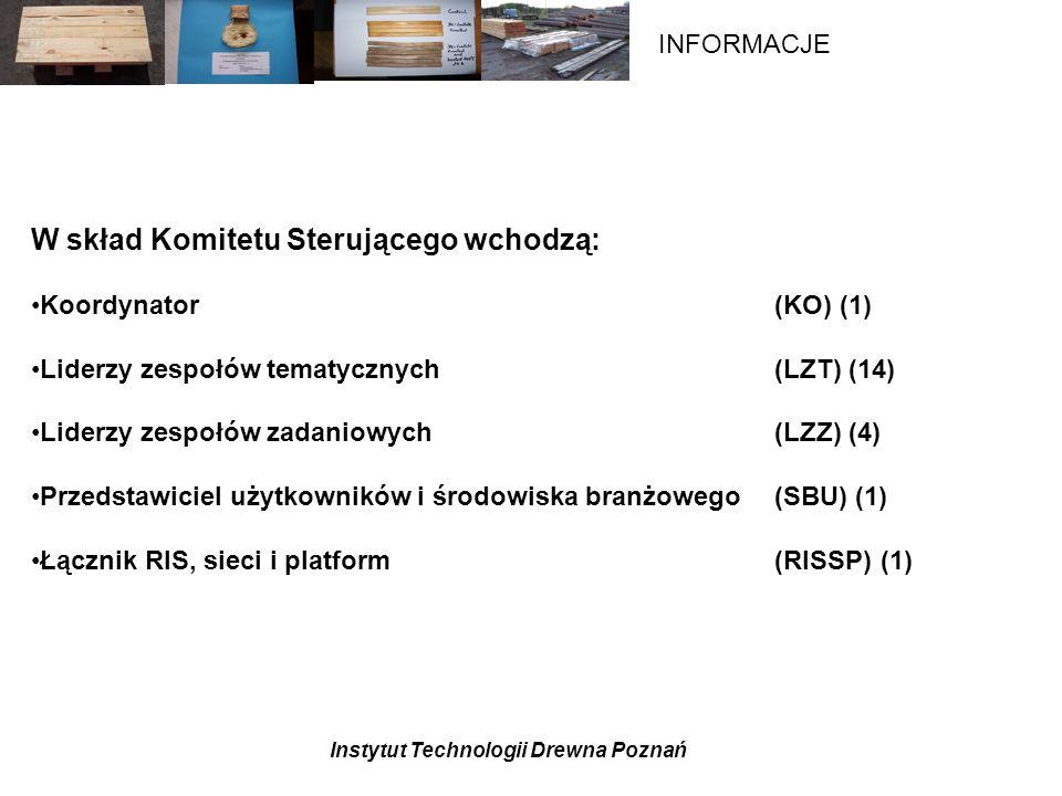 Instytut Technologii Drewna Poznań INFORMACJE W skład Komitetu Sterującego wchodzą: Koordynator (KO) (1) Liderzy zespołów tematycznych (LZT) (14) Liderzy zespołów zadaniowych (LZZ) (4) Przedstawiciel użytkowników i środowiska branżowego (SBU) (1) Łącznik RIS, sieci i platform (RISSP) (1)