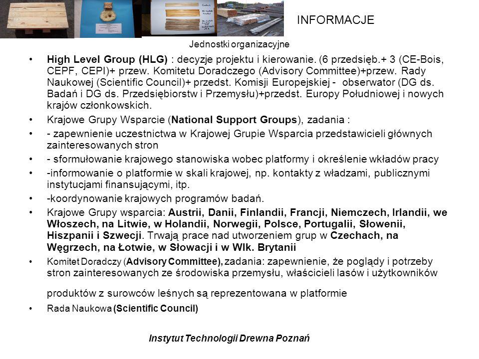 Instytut Technologii Drewna Poznań INFORMACJE Zespoły Tematyczne Schemat organizacyjny Polskiej PlatformyTechnologicznej Sektora Leśno-Drzewnego Projekt wstępny- do korekty .