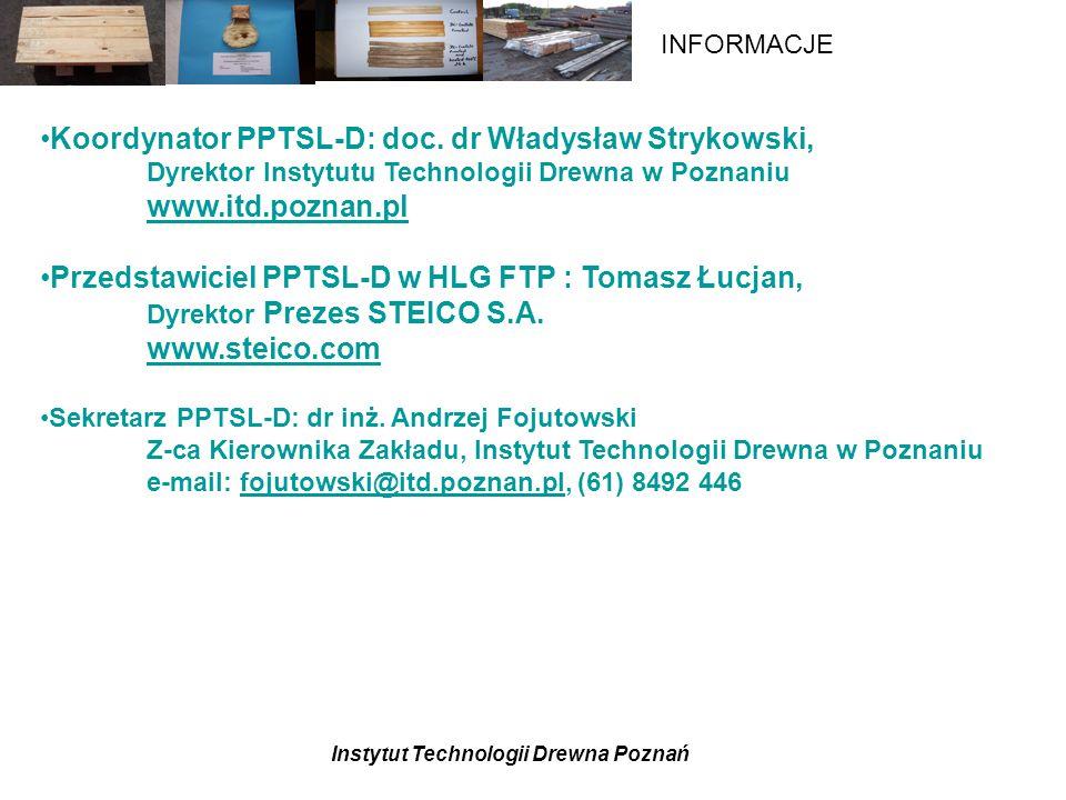Instytut Technologii Drewna Poznań INFORMACJE Projekt badawczy – Drewno poużytkowe w gospodarce- inicjatywą PPTSL-D (?) Jednostki: ITD., katedry i Instytuty WTD AR P-ń i SGGW, OBR PPD Czarna Woda, Polit.