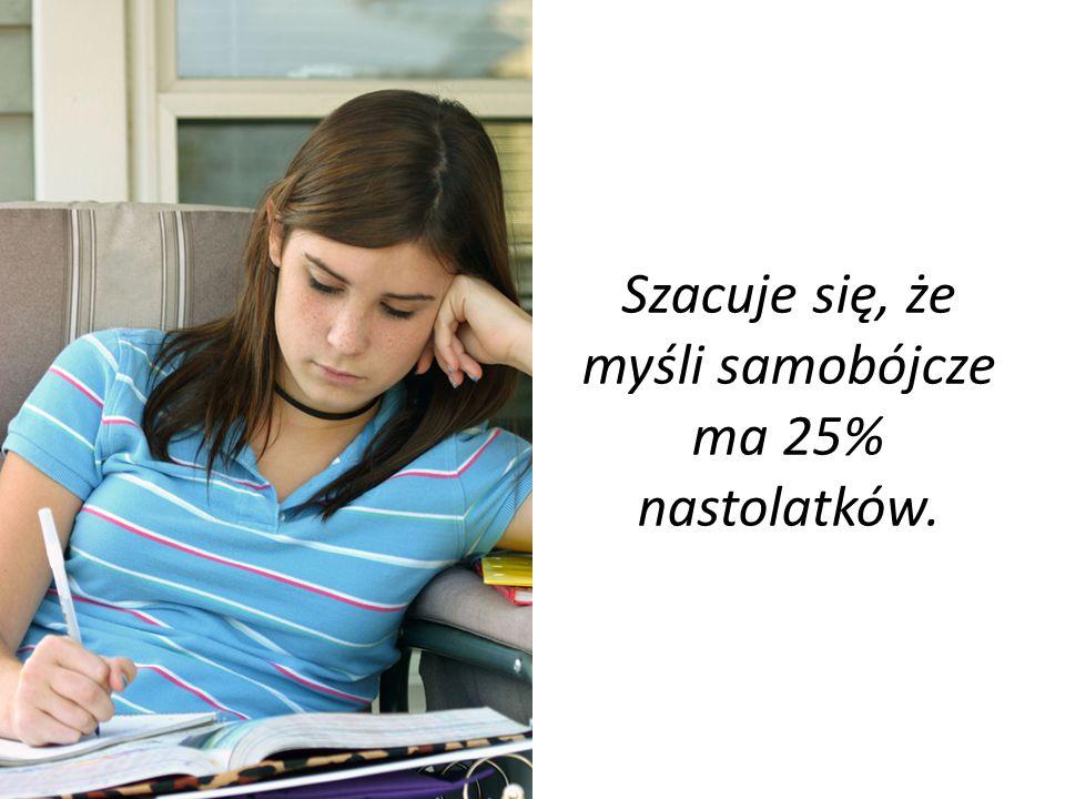 Szacuje się, że myśli samobójcze ma 25% nastolatków.