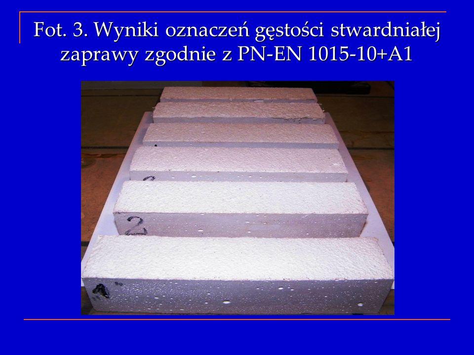 Fot. 3. Wyniki oznaczeń gęstości stwardniałej zaprawy zgodnie z PN-EN 1015-10+A1