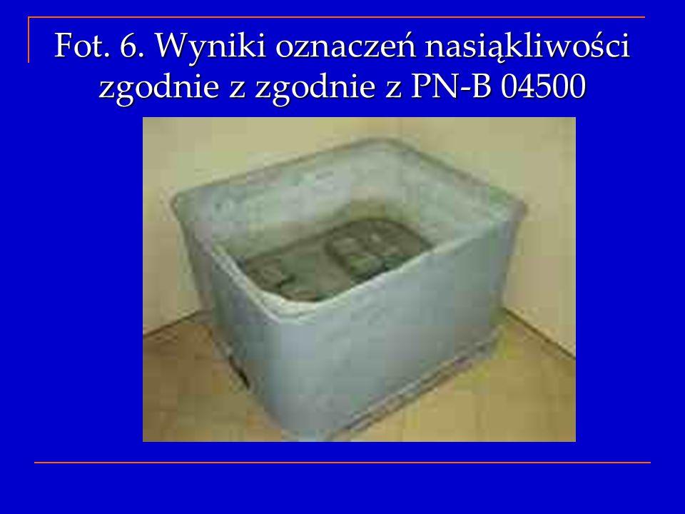 Fot. 6. Wyniki oznaczeń nasiąkliwości zgodnie z zgodnie z PN-B 04500