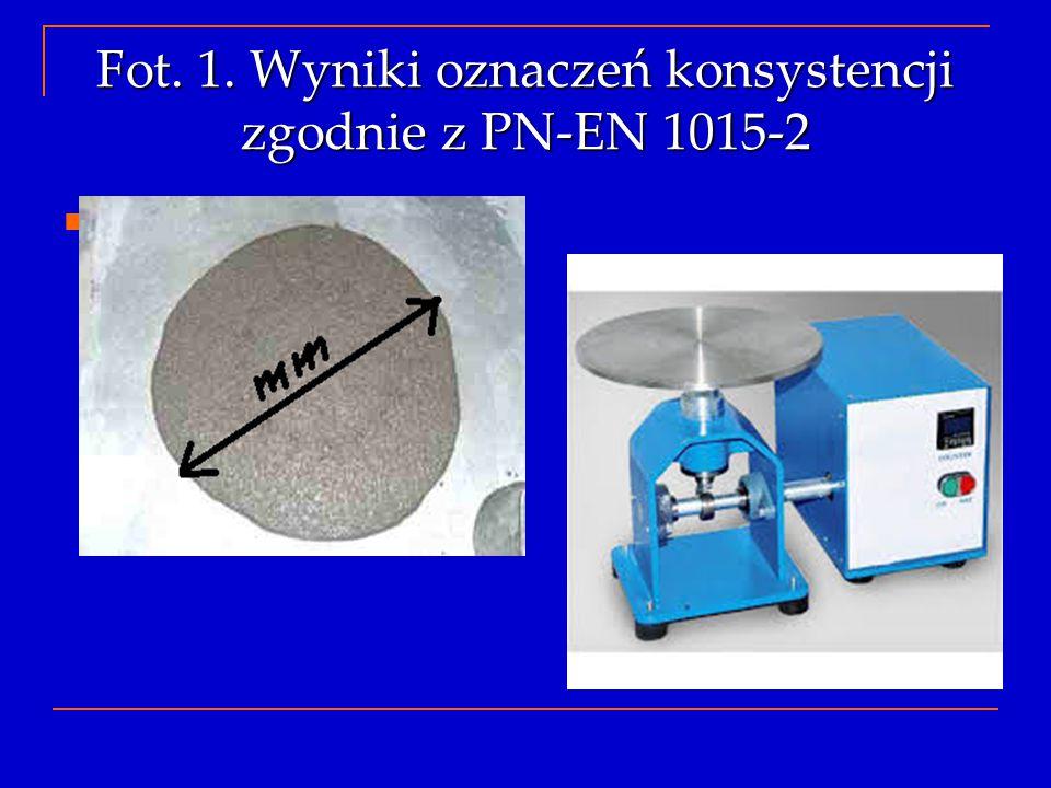 Fot. 1. Wyniki oznaczeń konsystencji zgodnie z PN-EN 1015-2