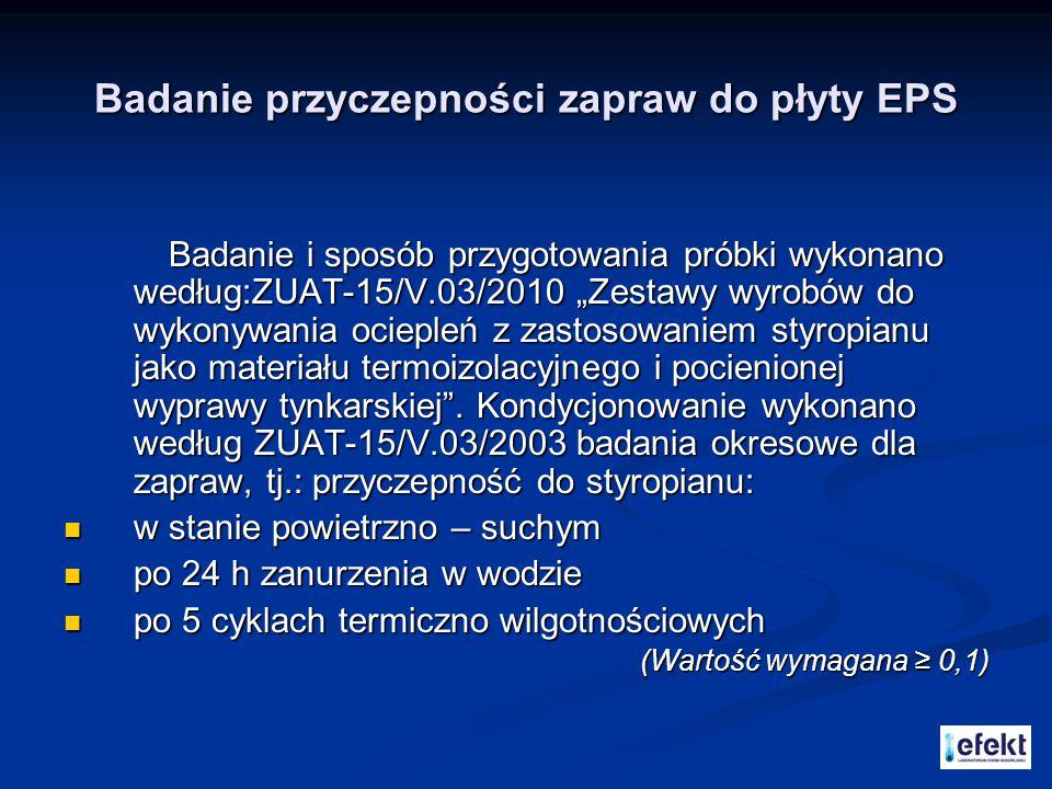 """Badanie przyczepności zapraw do płyty EPS Badanie i sposób przygotowania próbki wykonano według:ZUAT-15/V.03/2010 """"Zestawy wyrobów do wykonywania ocie"""