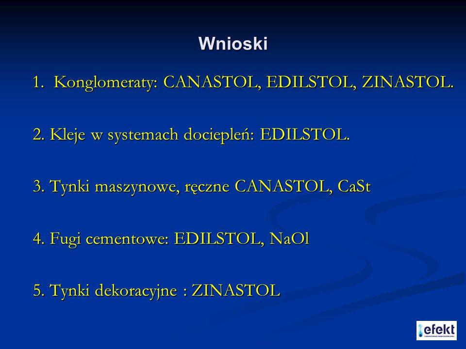 Wnioski 1. Konglomeraty: CANASTOL, EDILSTOL, ZINASTOL. 2. Kleje w systemach dociepleń: EDILSTOL. 2. Kleje w systemach dociepleń: EDILSTOL. 3. Tynki ma