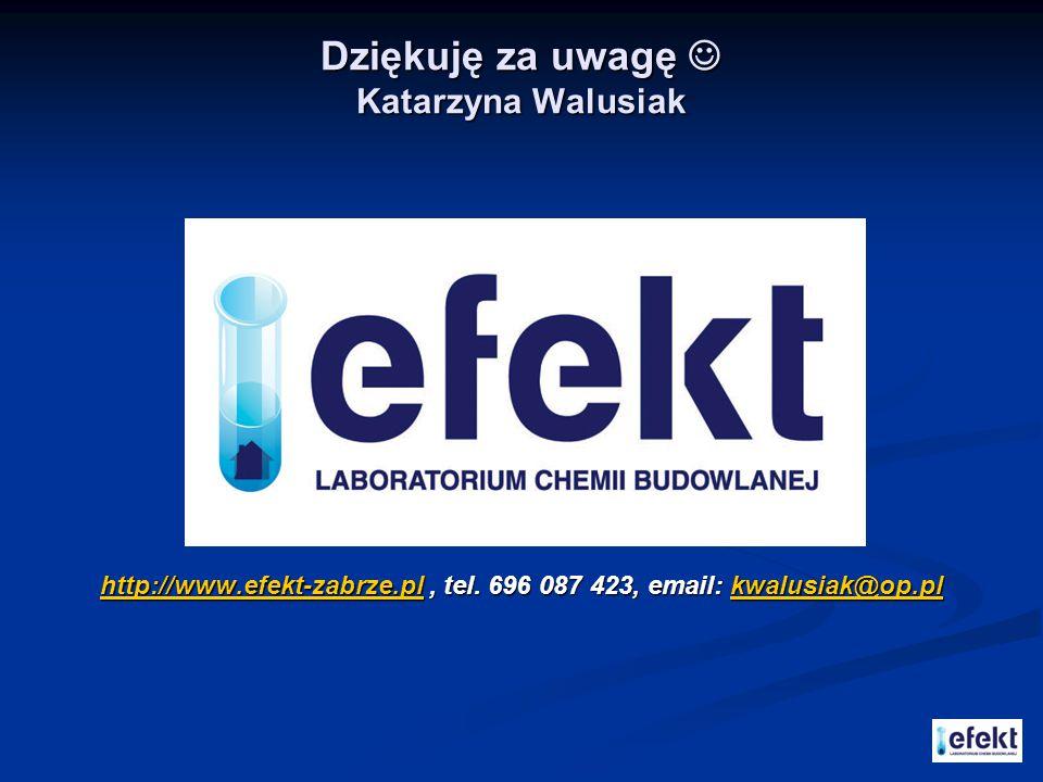 Dziękuję za uwagę Katarzyna Walusiak http://www.efekt-zabrze.plhttp://www.efekt-zabrze.pl, tel. 696 087 423, email: kwalusiak@op.pl kwalusiak@op.pl ht