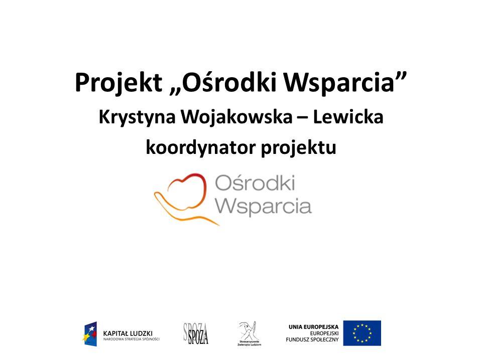 """Projekt """"Ośrodki Wsparcia Krystyna Wojakowska – Lewicka koordynator projektu"""