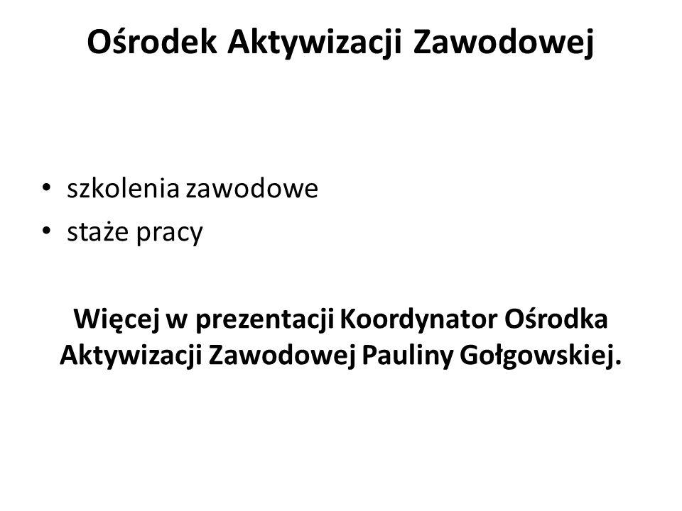 Ośrodek Aktywizacji Zawodowej szkolenia zawodowe staże pracy Więcej w prezentacji Koordynator Ośrodka Aktywizacji Zawodowej Pauliny Gołgowskiej.