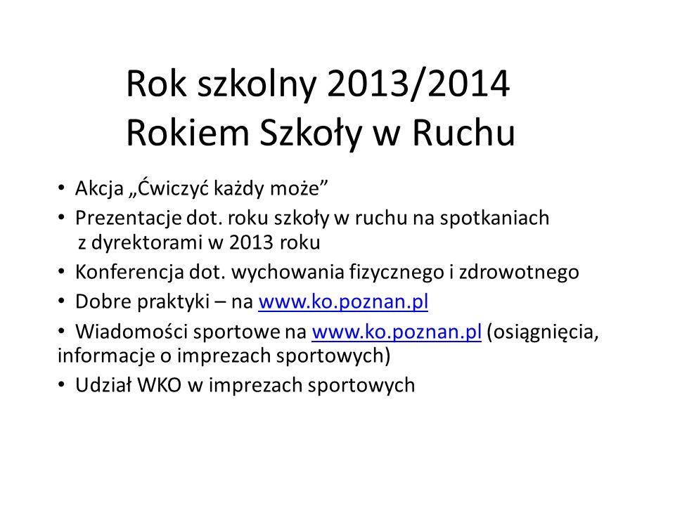 """Rok szkolny 2013/2014 Rokiem Szkoły w Ruchu Akcja """"Ćwiczyć każdy może Prezentacje dot."""