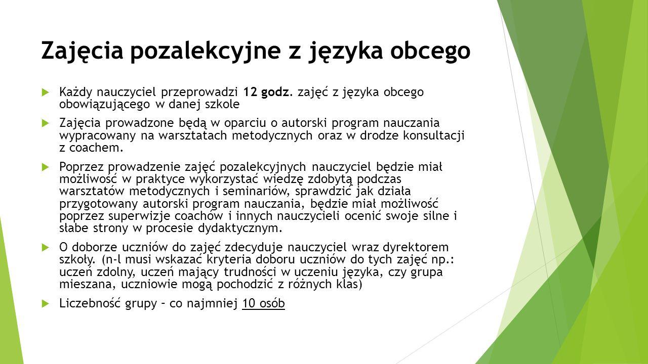Zajęcia pozalekcyjne z języka obcego  Każdy nauczyciel przeprowadzi 12 godz. zajęć z języka obcego obowiązującego w danej szkole  Zajęcia prowadzone