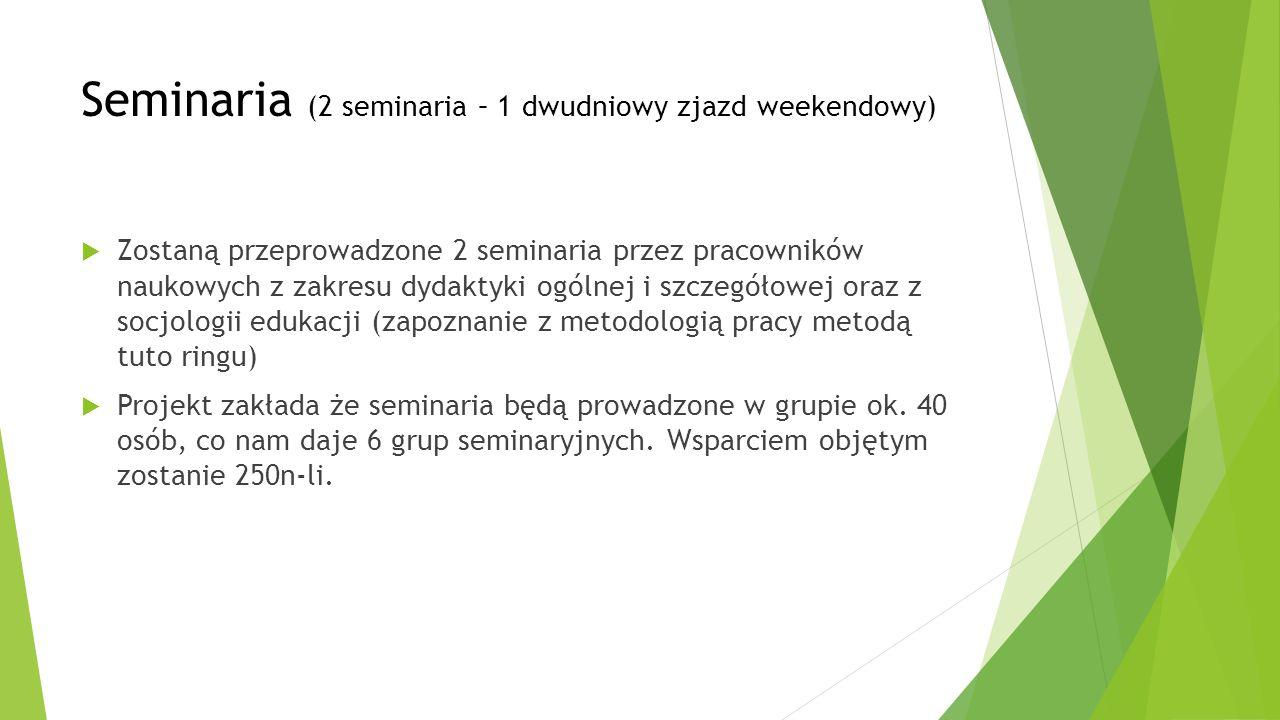 Seminaria (2 seminaria – 1 dwudniowy zjazd weekendowy)  Zostaną przeprowadzone 2 seminaria przez pracowników naukowych z zakresu dydaktyki ogólnej i
