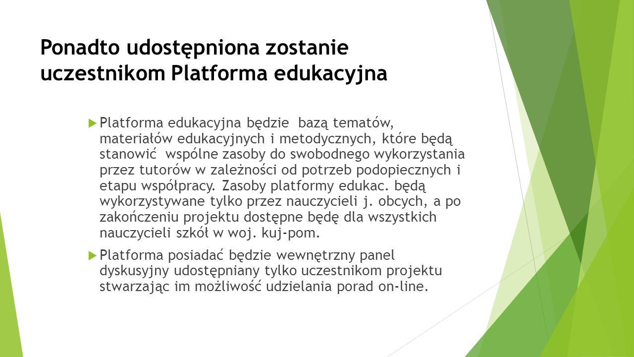 Ponadto udostępniona zostanie uczestnikom Platforma edukacyjna  Platforma edukacyjna będzie bazą tematów, materiałów edukacyjnych i metodycznych, któ